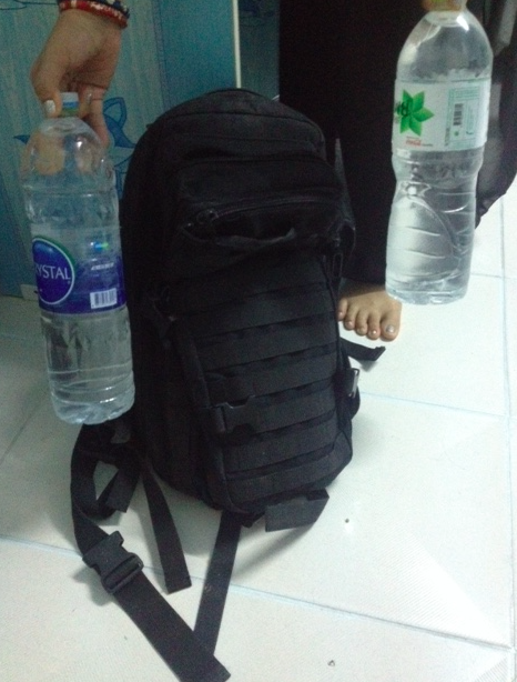 This was my 'Gym' when I was in Chiang Mai. Just a backpack full of water bottles!