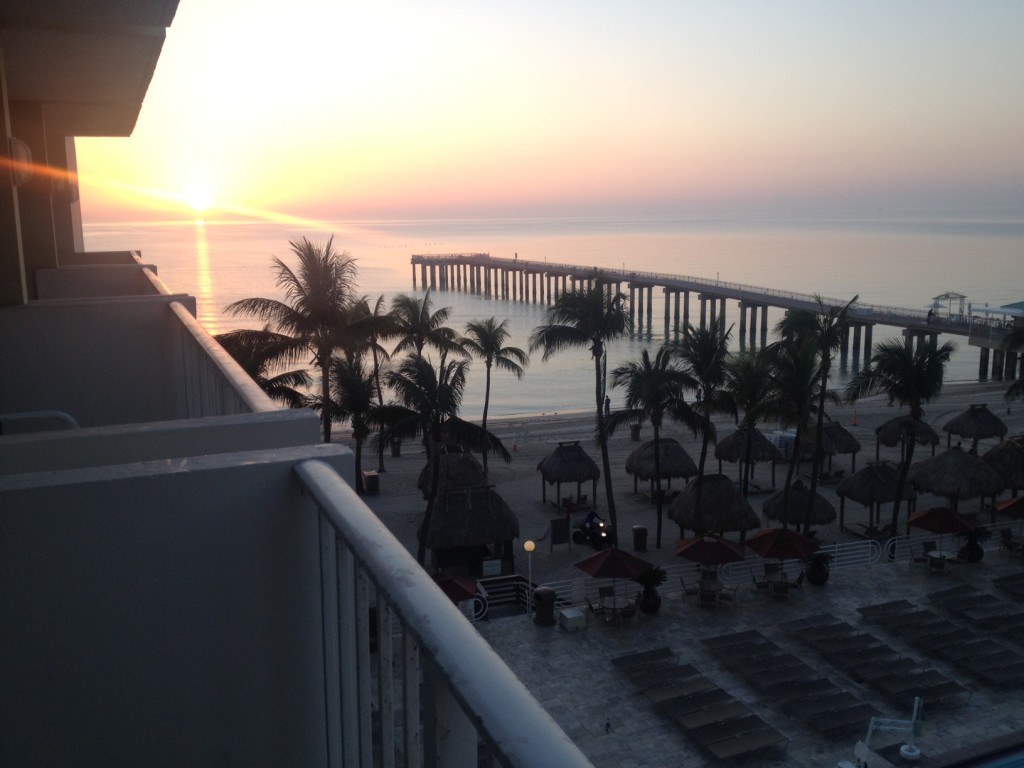 The view from my Miami hotel room. Not a bad sunrise. :)